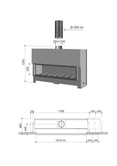 schéma cheminée contemporaine Gigafocus 1500