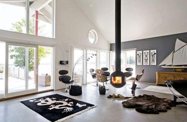 zentralen designkamine Agorafocus 630 in Schweden