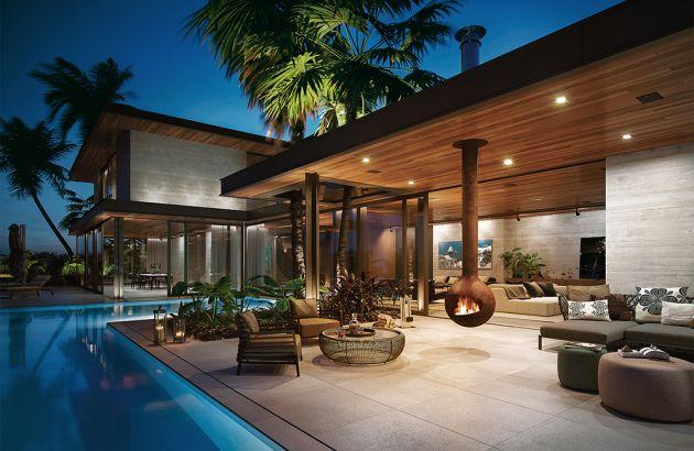 Outdoor designkamine auf einer Terrasse mit Pool installiert, Bathyscafocus outdoor